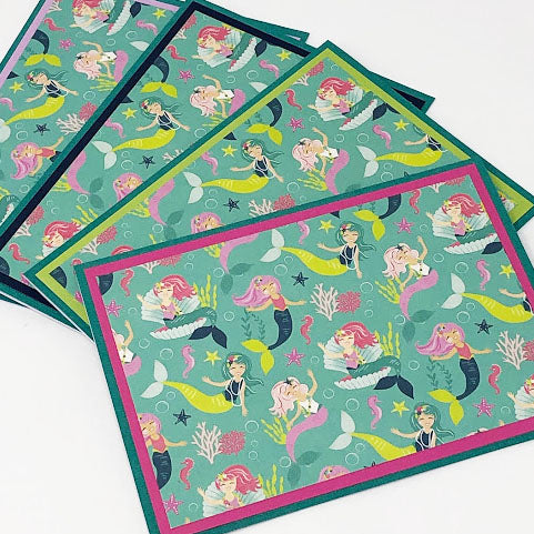 Mermaids: Blank Notecard Set of 4 Cards with Matching Embellished Envelopes