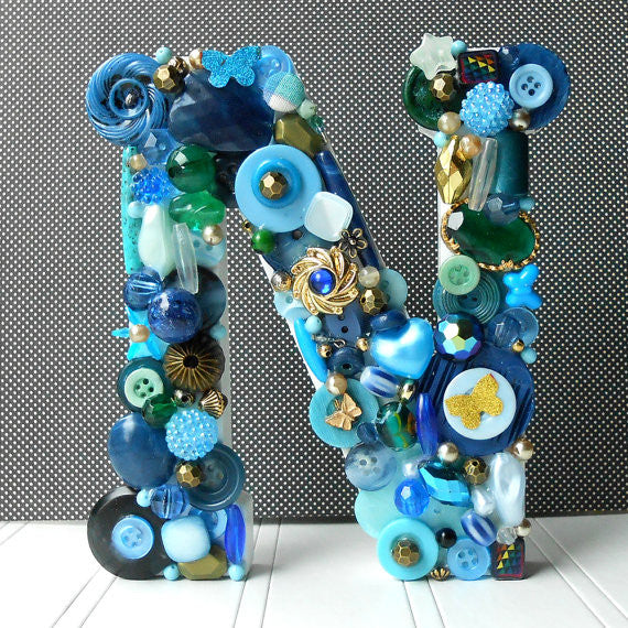 Handmade Artful Freestanding Designer Letter - BLUE - Sew Colorful Designs