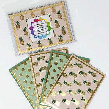 On Trend: Blank Notecard Set of 4 Cards, 2 Each of 2 Different Designs with Matching Embellished Envelopes