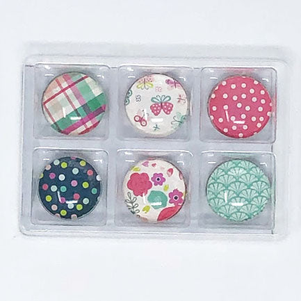 Sweet Girl: Set of 6 Color Pop Dots Magnets