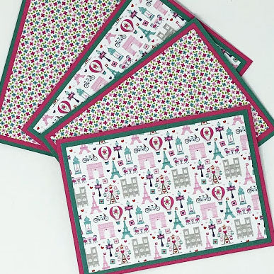Sweet Paris: Blank Notecard Set of 4 Cards, 2 Each of 2 Different Designs with Matching Embellished Envelopes