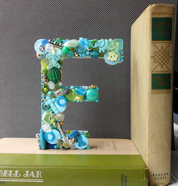 Handmade Artful Freestanding Designer Letter - AQUA & LIME GREEN - Sew Colorful Designs