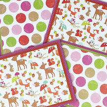 Fashionista Forest: Blank Notecard Set of 4 Cards, 2 Each in 2 Different Designs with Matching Embellished Envelopes