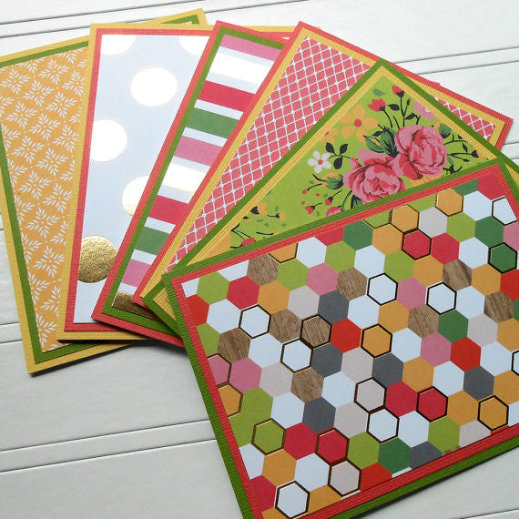 Hello Darling: Blank Notecard Set of 6 Different Cards with Matching Embellished Envelopes - Sew Colorful Designs