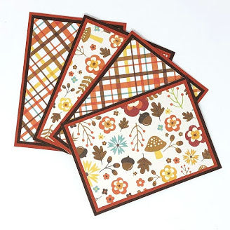 Autumnal Garden: Blank Notecard Set of 4 Cards, 2 Each of 2 Different Designs with Matching Embellished Envelopes