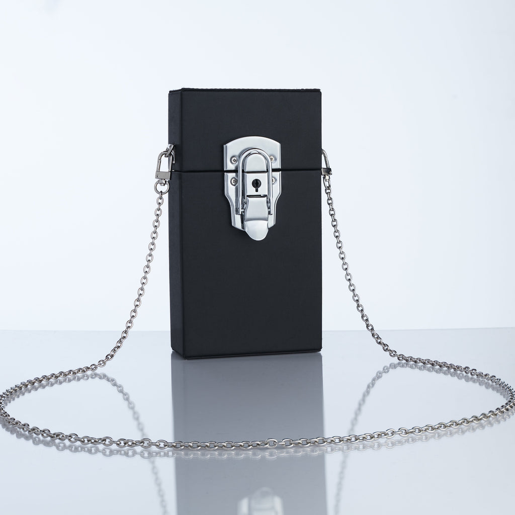 TELEFON CHAIN BOX BAG | NOIR MATTE SATIN
