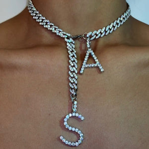 CUSTOM ICY CUBAN INITIAL CHAIN