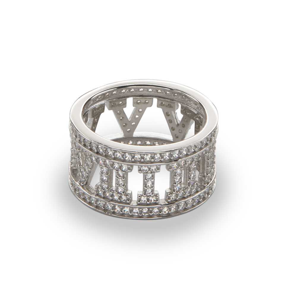 CRYSTAL ROMAN RING | SILVER