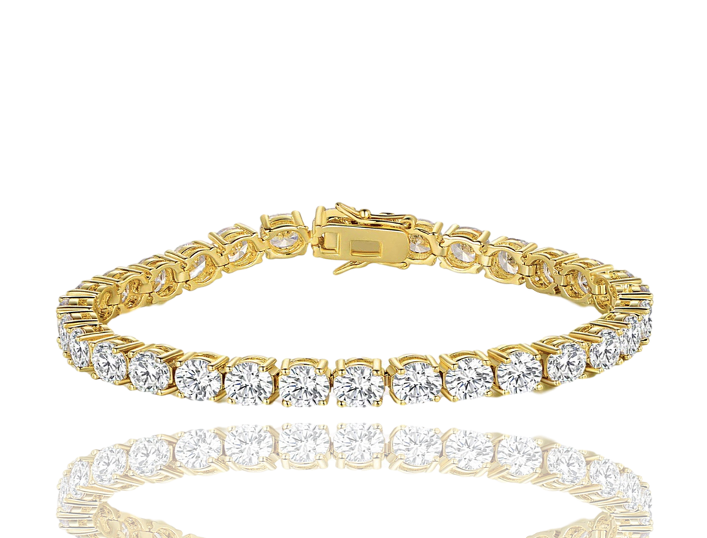 LARGE CRYSTAL TENNIS ANKLET | GOLD 6MM