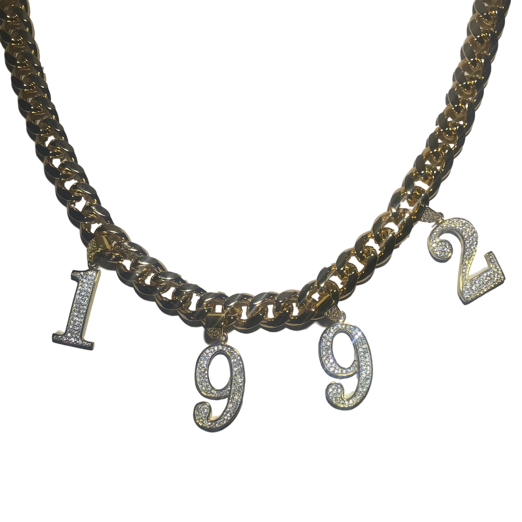 CRYSTAL BIRTH YEAR CUBAN LINK NECKLACE GOLD (PRE-ORDER)