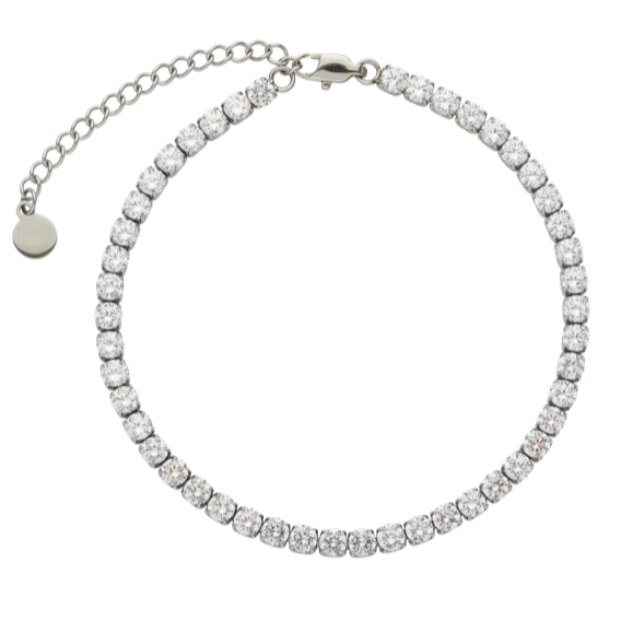 CRYSTAL TENNIS ANKLET | SILVER 4MM