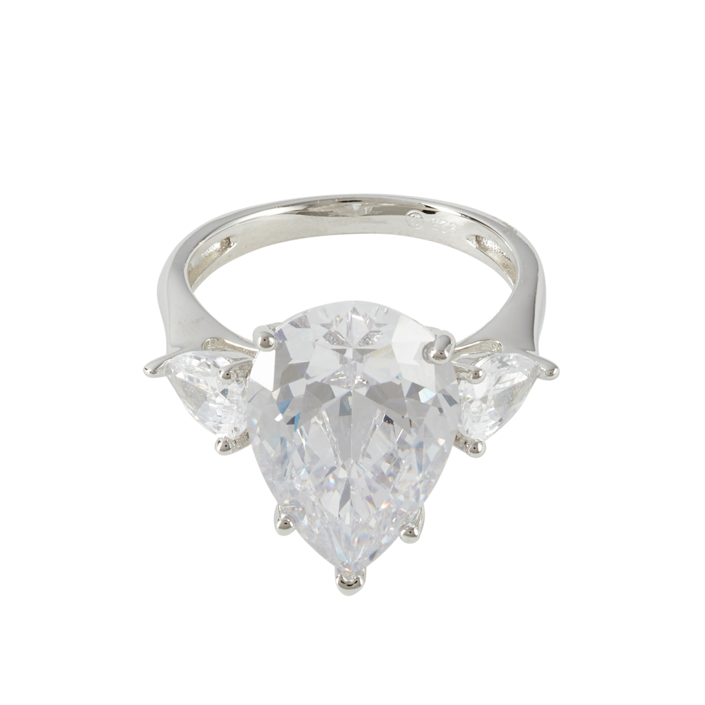 SILVER MINI PEAR TRIPLET CRYSTAL RING