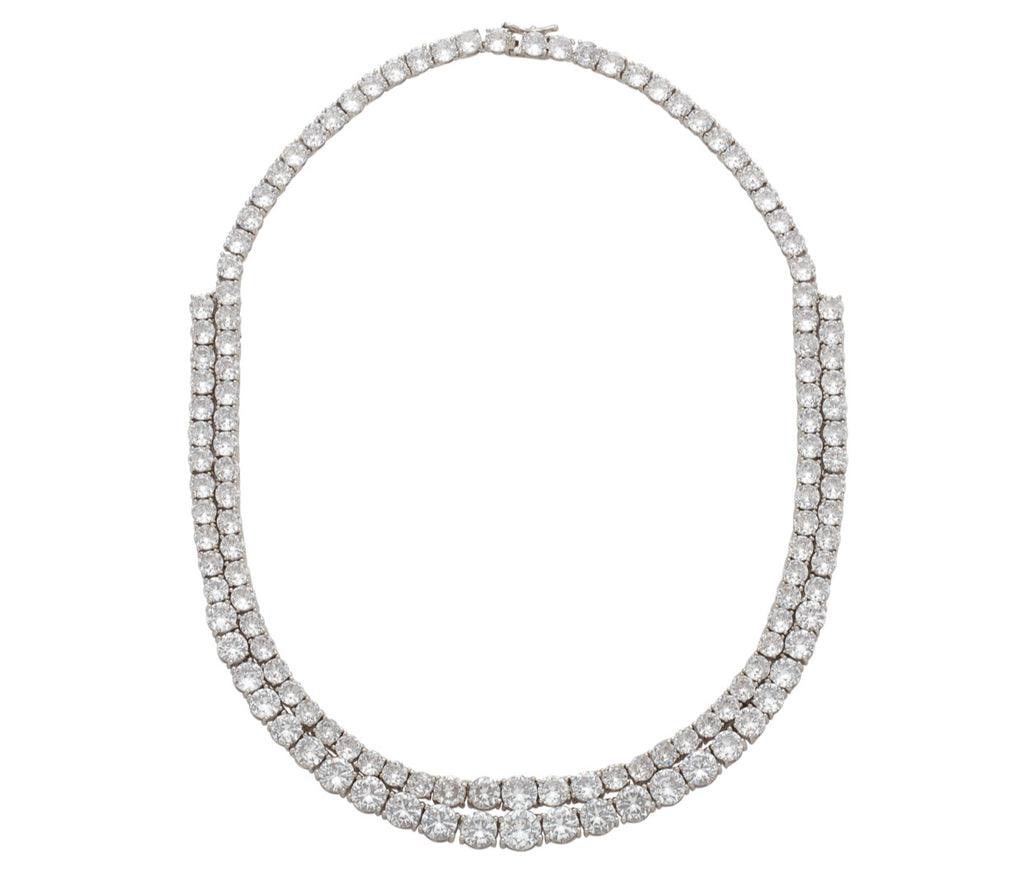 TWIN CRYSTAL LARGE TENNIS NECKLACE