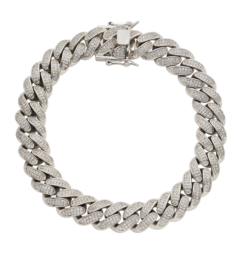 LARGE CRYSTAL CUBAN LINK CHOKER | SILVER