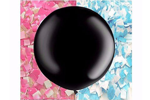 giant black gender reveal balloon