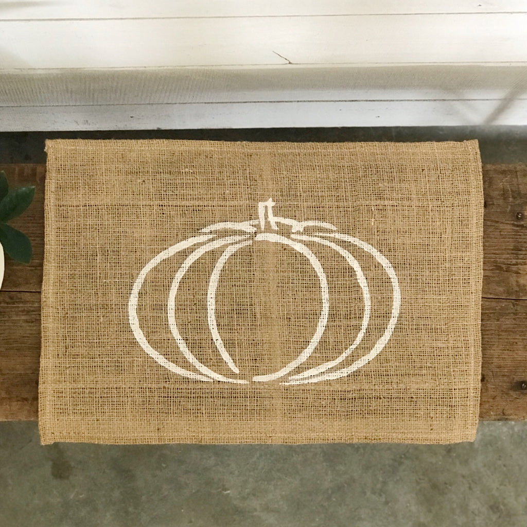 "Burlap Placemats- set of 4- ""pumpkin"""