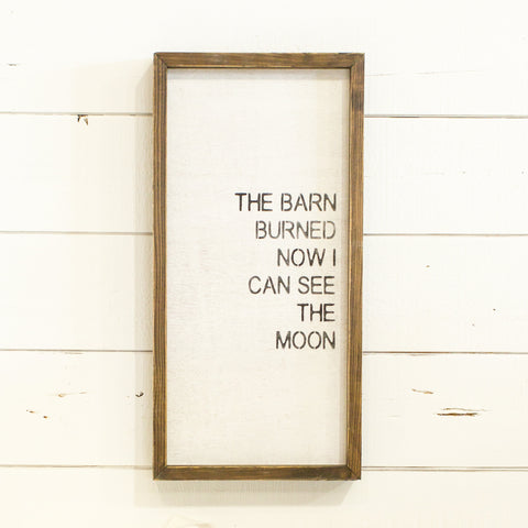 """The barn burned now I can see the moon"""
