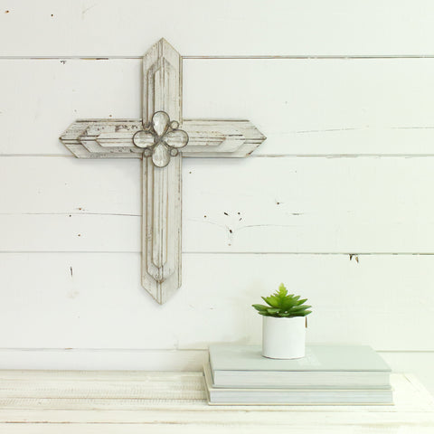"Reclaimed Wood 20"" Cross with Crystal pendants"