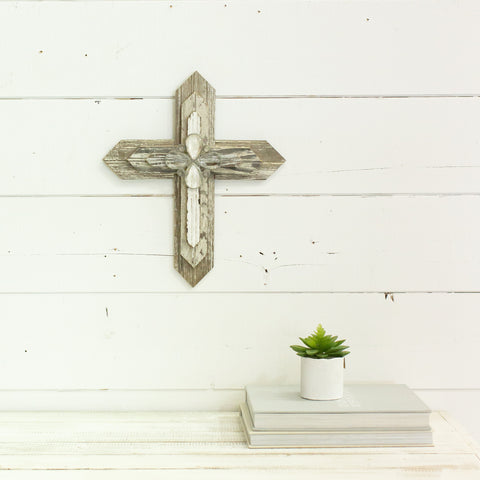"Reclaimed Wood 16"" Cross with Crystal pendants"