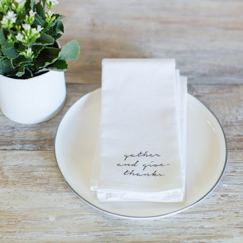 "Flour sack ""gather and give thanks"" napkins- OPRAH'S FAVORITE"