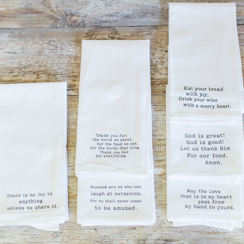 "Flour sack ""Blessings"" napkins"
