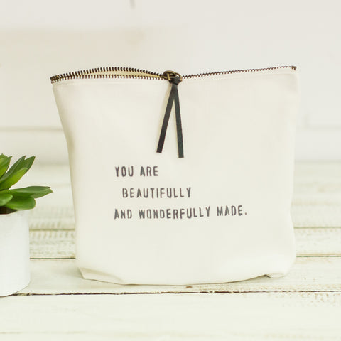 """you are beautifully and wonderfully made"" pouch"