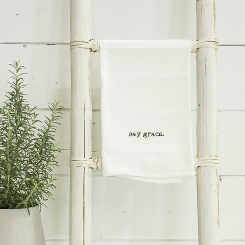"""say grace"" tea towel"