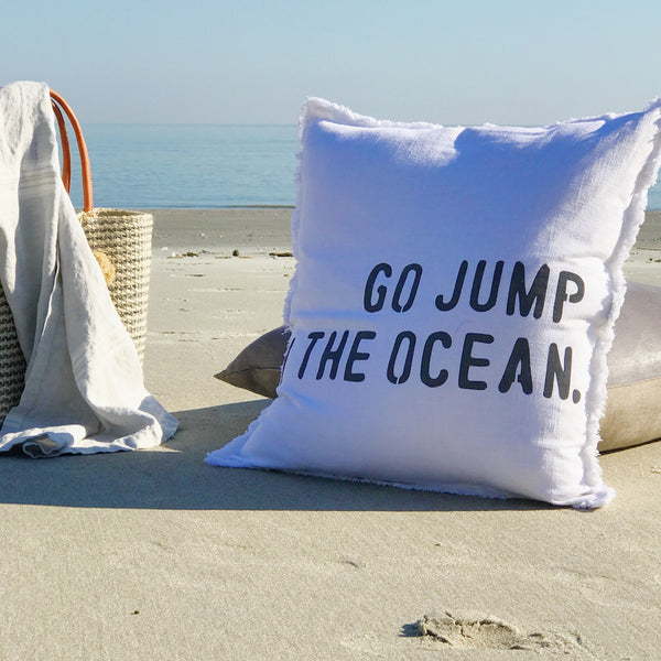"""Go Jump in the Ocean"" Large Pillow"