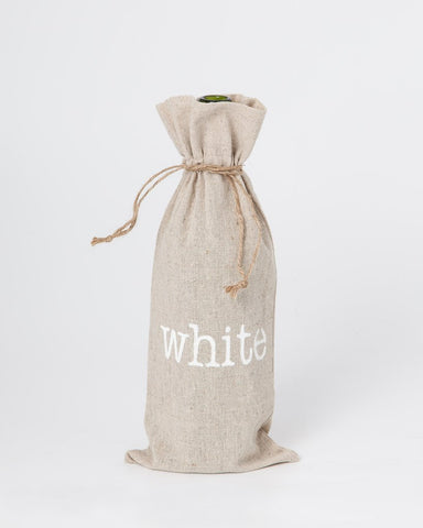 "set of 2 wine bags- ""White"""