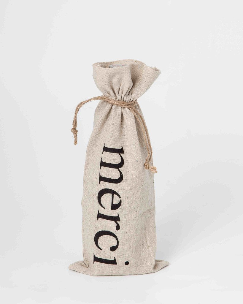 "set of 2 wine bags- ""Merci"""