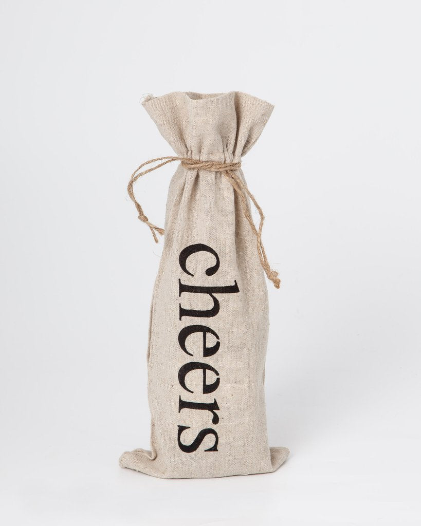 "set of 2 wine bags- ""Cheers"""