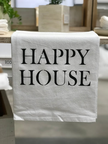 """happy house"" flour sack towel"