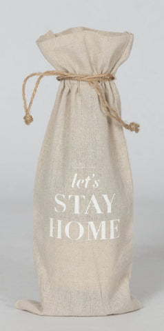 "set of 2 wine bags- ""Let's Stay Home"""
