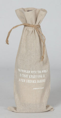 "set of 2 wine bags- ""The problem with the world"""