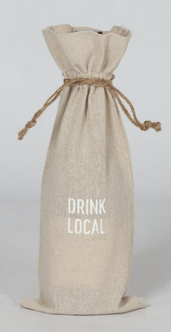"set of 2 wine bags- ""Drink Local"""