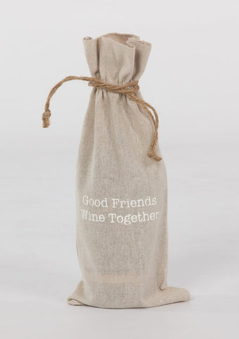 "set of 2 wine bags- ""Good Friends Wine Together"""