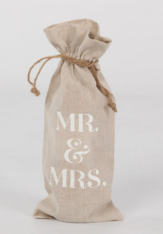 "set of 2 wine bags- ""MR & MRS"""