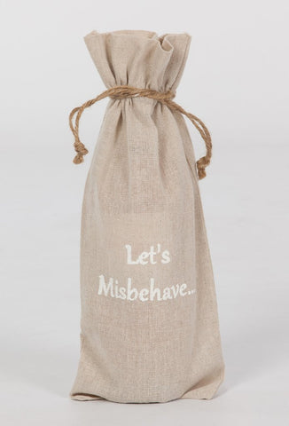 "set of 2 wine bags- ""Let's Misbehave"""