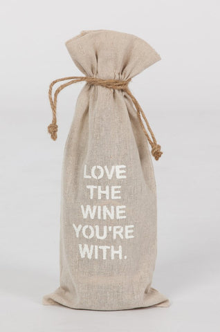 "set of 2 wine bags- ""Love the Wine your with"""
