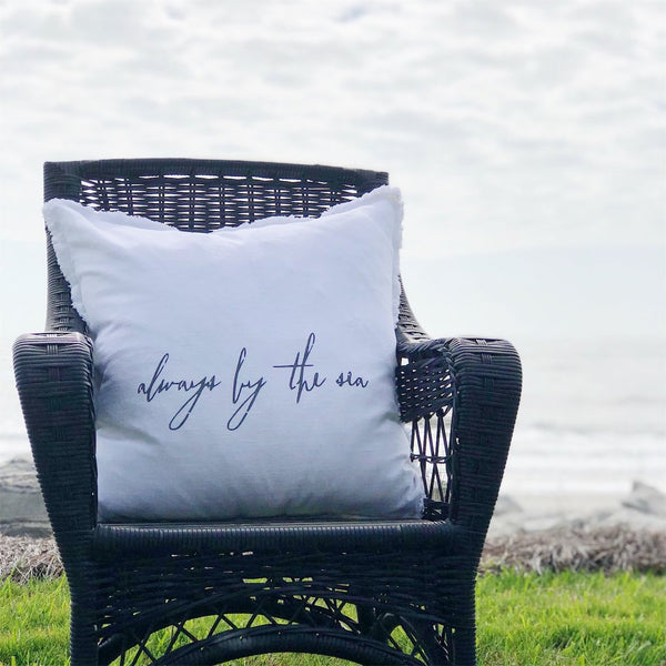 """always by the sea"" Large Pillow"
