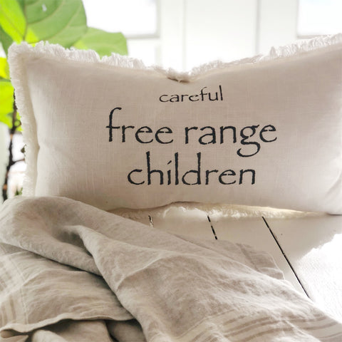 """Careful Free Range Children"" Lumbar Pillow"