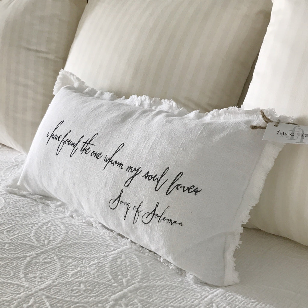 """I have found the one whom my soul loves"" Lumbar pillow"
