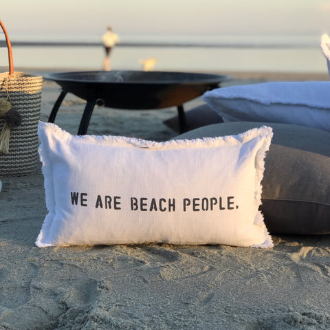 """We are beach people"" Lumbar Pillow"