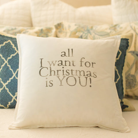 """all I want for Christmas is YOU"" medium pillow"