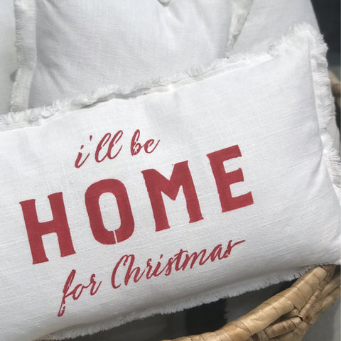 """I'll Be Home From Christmas"" Lumbar Pillow"