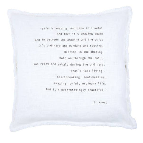 """LIFE IS AMAZING..."" LARGE EURO PILLOW"