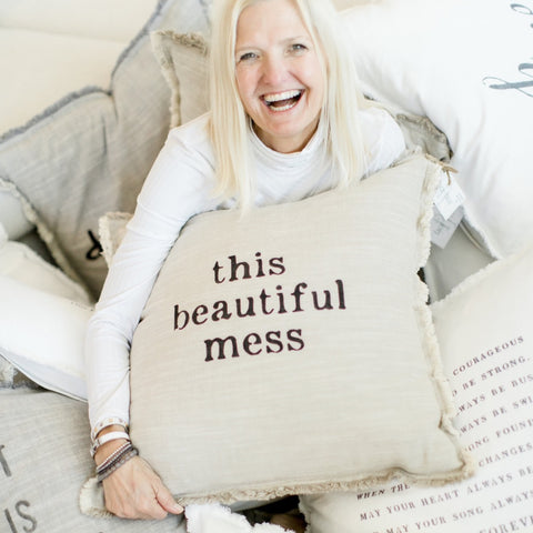 """This Beautiful Mess"" Large Pillow"