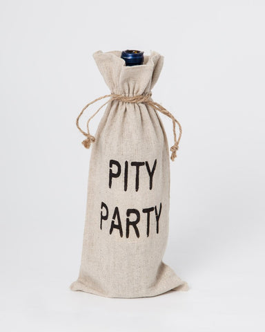 "set of 2 wine bags- ""Pity Party"""