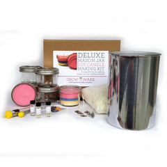 Deluxe Small Mason Jar Soy Wax Candle Kit - Learn how to make your own soy candles!
