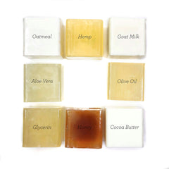 Soap bases from SFIC: cocoa butter, goat milk, aloe vera, glycerin, honey, olive oil, hemp, and oatmeal